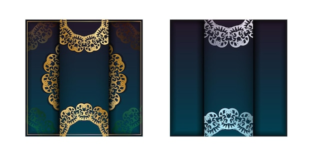 Greeting card template with gradient blue color with vintage gold ornaments for your design.