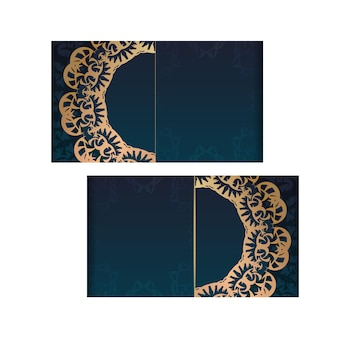 Greeting card template with gradient blue color with vintage gold pattern prepared for printing.