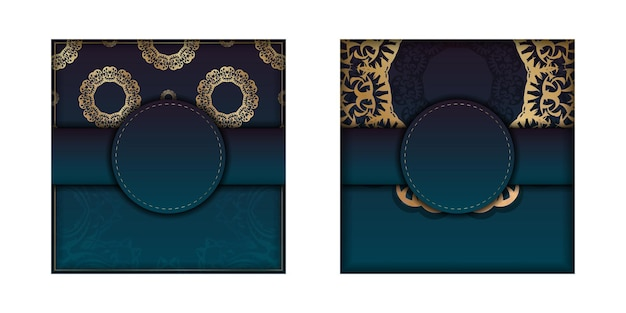 Greeting card template with gradient blue color with vintage gold pattern for your brand.