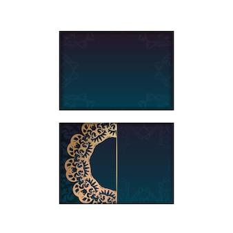 Greeting card template with gradient blue color with vintage gold pattern for your congratulations.