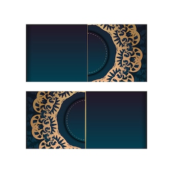 Greeting card template with gradient blue color with vintage gold pattern for your design.