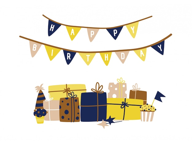 Greeting card template with happy birthday wish written on flag garland