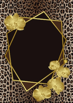 Greeting card template with leopard print orchids and geometric artdeco frame