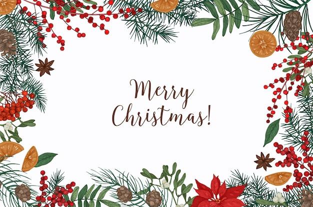 Шаблон поздравительной открытки с надписью merry christmas и бордюром из хвойных веток