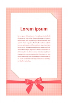 Greeting card template with pink ribbon and a bow. vector illustration