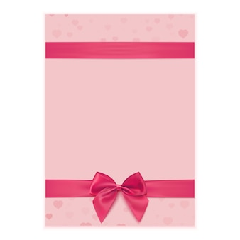 Greeting card template with pink ribbon and bow.