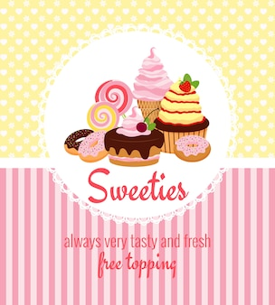 Greeting card template with retro patterns of yellow polka dots and pink stripes around a round frame with desserts
