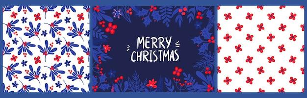Шаблон поздравительной открытки с надписью с рождеством и узорами с веточками падуба