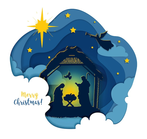 Greeting card of traditional christian christmas nativity scene of baby jesus in the manger with mary and joseph in silhouette. holy night. vector eps 10
