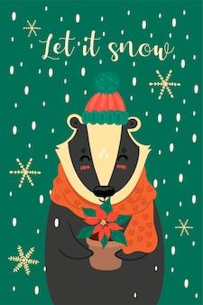 かわいいクリスマスアナグマのグリーティングカード。