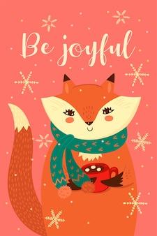 かわいいクリスマスキツネのグリーティングカード。