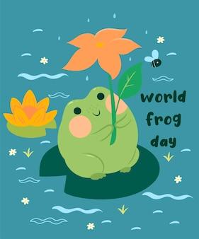 Открытка с милой лягушкой и надписью всемирный день лягушки. векторная графика.