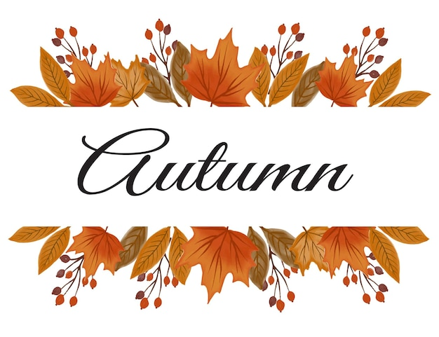 Greeting card with arrangement of autumn leaves
