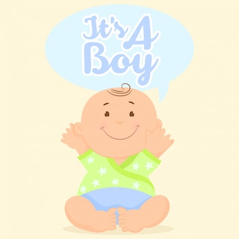Greeting card with baby. it's a boy