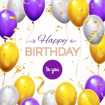 Free Vector Happy Birthday Wishes Background With Confetti Burst