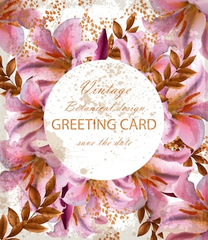 Greeting card with beautiful pink flowers
