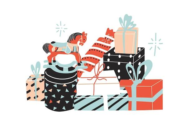 Открытка с большой коллекцией подарков. деревянная лошадь, красочные бумажные подарочные коробки. плоский стиль в векторной иллюстрации. с новым годом. изолированные на белом фоне элементы.