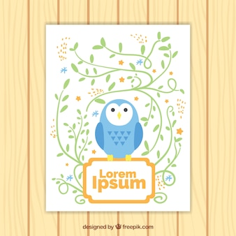Greeting card with blue owl and floral decoration