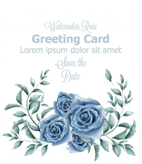 Greeting card with blue roses watercolor