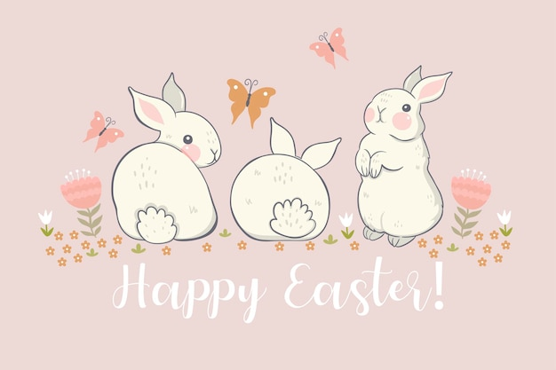 Greeting card with bunnies and flowers and the inscription happy easter