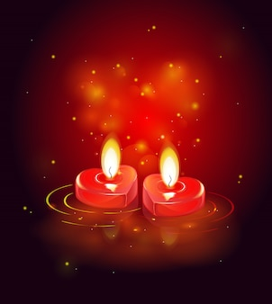 Greeting card with burning candles, luminous red heart and shining sparks