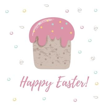 Открытка с тортом. весенняя иллюстрация с надписью «с пасхой!» милая концепция праздника
