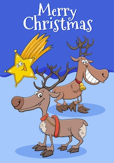 Greeting card with cartoon reindeers characters on christmas time