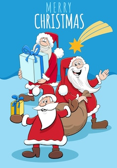 Greeting card with cartoonsanta claus characters on christmas time
