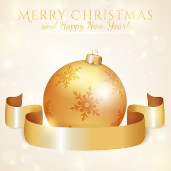 Greeting card with christmas ball and ribbon