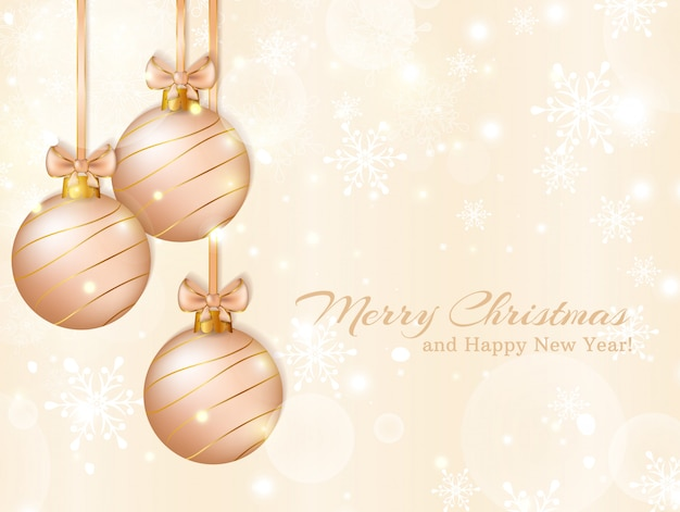 Greeting card with christmas balls.  illustration.