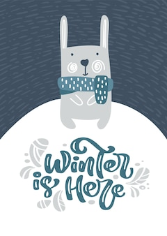 Greeting card with christmas fanny hare or rabbit. winter is here