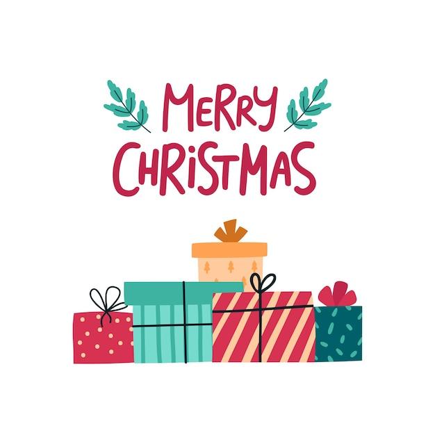 크리스마스 선물 상자 인사말 카드