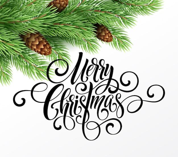 크리스마스 트리와 붓글씨 한숨 메리 크리스마스 인사말 카드. 벡터 휴가 일러스트