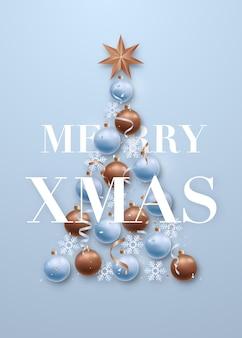 Поздравительная открытка с рождественской елкой на плоской планировке на синем фоне