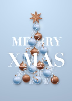 Greeting card with christmas tree flat lay composition on sierra blue backdrop