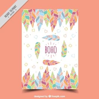 Biglietto di auguri con piume colorate in design piatto