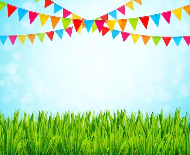 カラフルな旗と緑の草のグリーティングカード