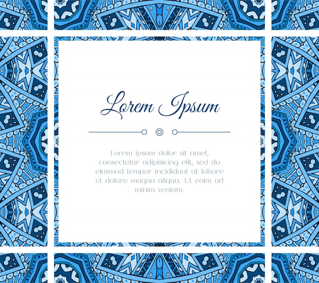 Greeting card with colorful oriental blue design. frame for holiday or invitation text template