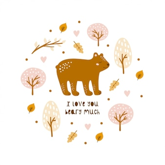 Greeting card with cute bear and hand-drawn elements.