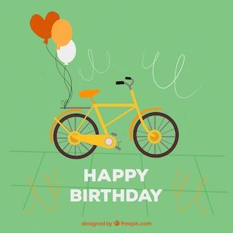 Открытка с милой велосипеде и двух воздушных шаров
