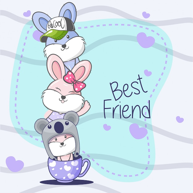 Greeting card with cute cartoon.