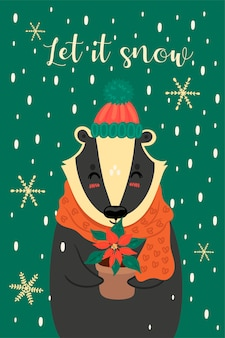 Greeting card with a cute christmas badger.
