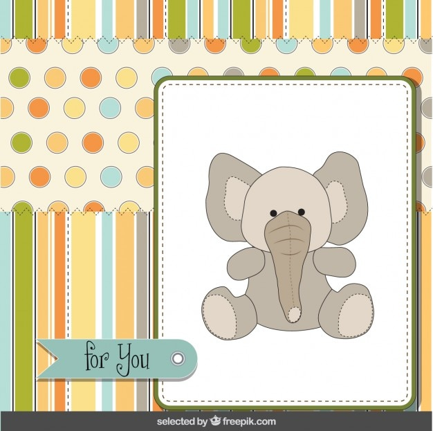 Greeting card with cute elephant