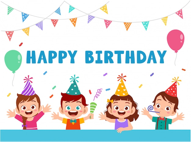 Greeting card with cute happy kids celebrating birthday