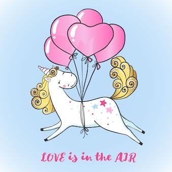 Greeting card with cute magic unicorn on balloons