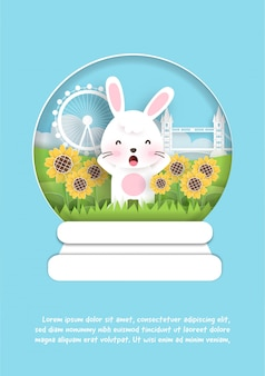 Greeting card with cute rabbit in paper cut style.