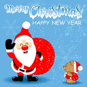 Greeting card with Cute Santa Clause and cute brown bear for Merry Christmas