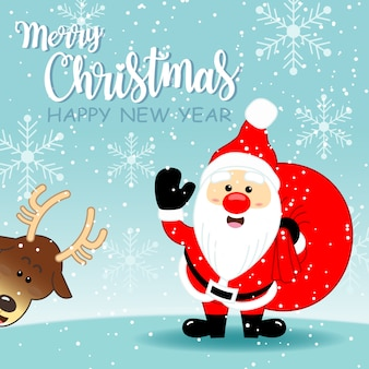 Greeting card with Cute Santa Clause and cute reindeer on light green background