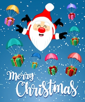 Greeting card with cute Santa Clause skydiving and Gift Box for Merry Christmas
