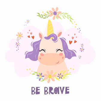Greeting card with cute unicorn character and text